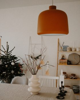 white and yellow table lamp on white wooden table